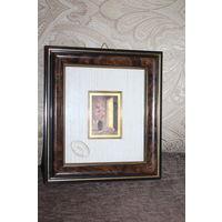 Картина в пластиковой рамке - художественная литография, выполненная на золотой фольге, Италия.
