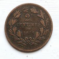 Люксембург 2.5 сантима, 1854 4-4-19