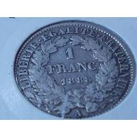 Франция 1 франк 1888 г.серебро.
