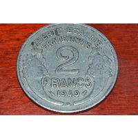 2 франка 1949 Франция KM# 886a1 алюминий