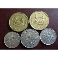 Сингапур. 5 монет 1991-2005 г.