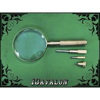 Лупа с 3 отвёртками в ручке, увеличение 3 х крат, линза 90 мм Увеличительное стекло металлическая