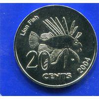 Кокосовые ( Киллинг ) острова 20 центов 2004 , Рыба - Лев , UNC