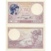 Франция. 5 франков (образца 1940 года, P83, XF)