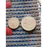 Две монеты 10 копеек 1931 и 20 копеек 1932 год