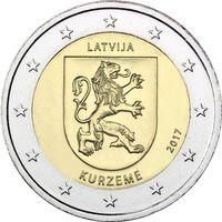 2 евро 2017 Латвия Историческая область Курземе UNC из ролла