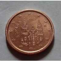 1 евроцент, Испания 2015 г., UNC