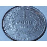 Бразилия 2000 рейсов 1921 г. серебро