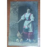 Старая пасхальная открытка 1909 года ст. Пинск польсские ж.д.