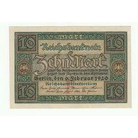 Германия 10 марок 1920 года. Надпечатка буква F. Состояние UNC-!