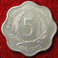 7628: 5 центов 1981 Восточные Карибы