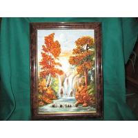 Картина-репродукция украшенная кусочками янтаря.Размер 35х26 см.