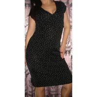 Платье черное в мушку р-р 46 (марк L)