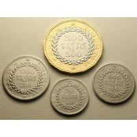 Камбоджа. набор 4 монеты  20, 100, 200, 500 риелей - 2538 (1994) год