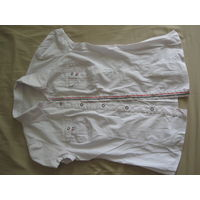 Блузка белая школьная, короткий рукав, 164-42, х/б (52%) с эластаном и полиэстером