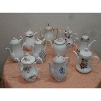 Коллекция 10 чайников фарфор Англия Германия.