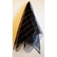 Новый шейный платок, капроновый, черный с люрексом. 72х75 см.