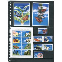 Гренада. Бабочки. Комплект(серия, малый лист и два блока)