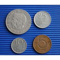 Набор монет Швеция 1 крона, 25, 10, 5 оре - все 1973 г.