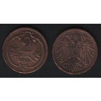 Австро-Венгрия km2801 2 геллер 1897 год (f50)(ks00)