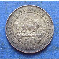 Восточная Африка Британская колония 50 центов (1/2 шиллинга) 1942 серебро