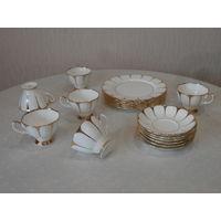 Сервиз чайный кофейный костяной фарфор 18 предметов золочение Royal Vale Англия 6 чашек, 6 блюдец, 6 тарелок диаметр 20 см.