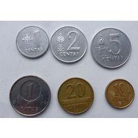 Набор монет Литвы 6 шт (цена за все), из копилки