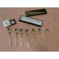 Набор 6 чайных ложек + ложка для сахара позолоченные (vergoldet) UTC Германия.