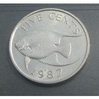 Бермудские острова 5 центов 1987г. Средний портрет.