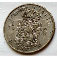 Голландская Ост-Индия 1/10 гульдена, 1907 1-7-22