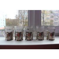 6 мельхиоровых подстаканников со стаканами!