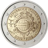 2 Евро Италия 2012 10 лет наличному обращению евро UNC из ролла
