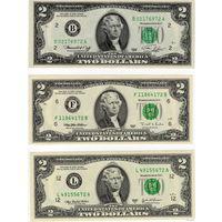 США, комплект 2 $: 1976, 1995 и 2003 г.г., UNC пресс