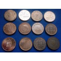 Ирландия, Франция, Ватикан, Латвия, Испания, Греция, Мальта, Австрия, Литва, Италия, Нидерланды 1 евроцент 2000-2017