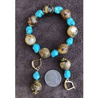 Набор - браслет+серьги - янтарь балтийский  с бирюзой - шар 15 мм