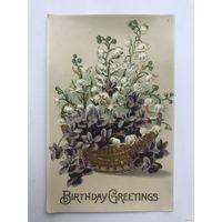 Антикварная глянцевая открытка Birthday Greetings 1909 год