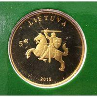 """Литва 5 евро 2015  """"25 лет независимости"""""""