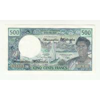 Новые Гебриды 500 франков 1970 года. Тип P19а. Вариант подписей 1. Состояние UNC! Редкая!