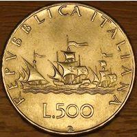 500 лир 1966г. Корабли Колумба.