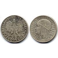 10 злотых 1932, Ядвига. Вариант без знака монетного двора под правой лапой Орла. Штемпельный блеск, коллекционное состояние!