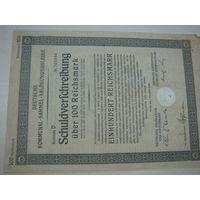 Акция Облигация Германия Третий рейх 100 рейхсмарок 1926 47