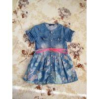 Джинсовое платье на девочку+ремешок