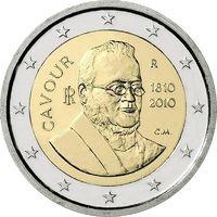 2 Евро Италия 2010 Камилло Бензо ди Кавур 200 лет со дня рождения UNC из ролла