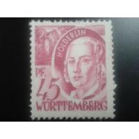 Германия 1947 Вюртемберг фр. зона поэт