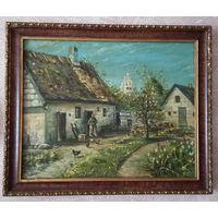 Картина масло холст рамка дерево Европа