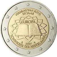 2 евро Нидерланды 2007 50 лет подписания Римского договора UNC из ролла