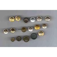 17 маленьких пуговиц ВС СССР и РБ металлические и пластмассовые из легкого и тяжелого металла стальные все разные