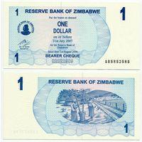 Зимбабве. 1 доллар (образца 2006 года, P37, UNC) [#5852585, радар]