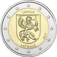 2 евро 2017 Латвия Историческая область Латгале UNC из ролла