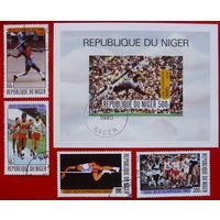 Нигер. Спорт. ( Блок и 4 марки ) 1980 года.